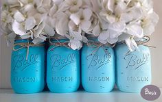 mason jar decoration | Blue Ombra Mason Jar Decorations