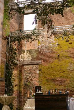 Chandeliers hang on the ruins - Edge Design Group Source by edgedesigngroup Barnsley Gardens, S Brick, Brick Garden, Garden Edging, Edge Design, Garden Styles, Wedding Designs, Chandeliers, Wedding Photos