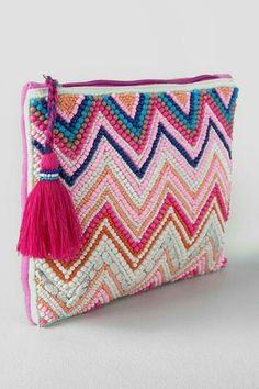 Embroidery Bags, Pink Clutch, Beaded Clutch, Pattern Making, Purse Wallet, Chevron, Handbags, Beads, Stylish