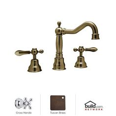 Rohl AC107X-2 Cisal Widespread Bathroom Faucet with Pop-Up Drain and Metal Cross