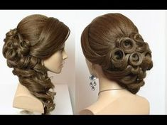 Prom bridal hairstyle for long hair, tutorial with braids and curls - YouTube