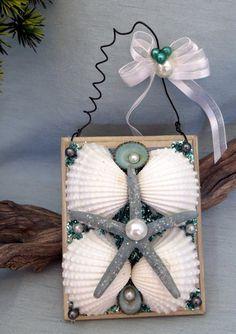 Starfish and shell beach ornament by CarmelasCoastalCraft on Etsy, $12.75