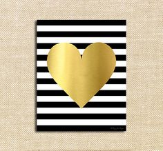 Gold Heart Black and White Stripes Printable Art | Inspirational Happy Pink and Seafoam Green Digital Art | Wall Decor Instant Download Art