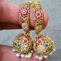 No filter needed for these beautiful multi gem jhumkis! #pakistanibride #weddingseason #finejewelry #finejewellery #gold #rubies #emeralds #diamonds #sapphire #pearls #statementearrings #amenjewellery #weddingjewelry