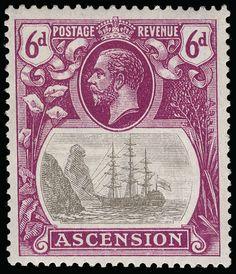 "Philasearch.com - Ascension, Scott 17 var, SG 16c. 17 var (16c) 1924 6d grey-black and bright purple K George V Badge of St. Helena, VARIETY - ""cleft rock"" (row 5, pos 1), wmkd Script CA, OG, VLH, VF  Anbieter Colonial Stamp Company  Saalauktion Ausruf: 325.00 US$ (ca. 257 EUR)"