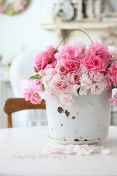 Shabby Chic Romantic Cottage ♥ Flowers in bucket My Flower, Fresh Flowers, Pretty In Pink, Pink Flowers, Beautiful Flowers, Pretty Roses, Romantic Flowers, Flower Ideas, Wedding Flowers
