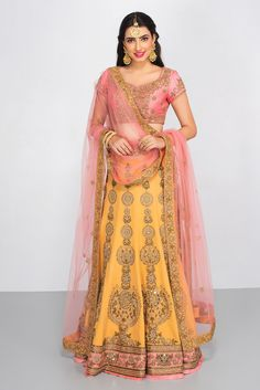 SUMON COUTURE peach and pink embroidered lehenga