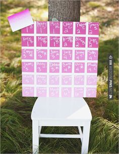 Neato - take a seat any seat...or the one you're assigned | CHECK OUT MORE GREAT PINK WEDDING IDEAS AT WEDDINGPINS.NET | #weddings #wedding #pink #pinkwedding #thecolorpink #events #forweddings #ilovepink #purple #fire #bright #hot #love #romance #valentines #pinky