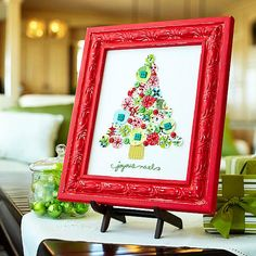 Embroidered Fabric Christmas Tree - made with buttons and fabric scraps! How clever! More christmas crafts: http://www.bhg.com/christmas/crafts/christmas-holiday-crafts/