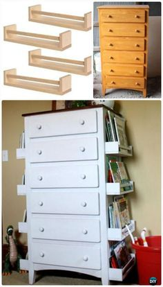 DIY Kids Bookshelves Made with Old Drawers and Ikea Spice Racks: Turn the old drawers like this one into a creative and stylish bookshelves for your kids with some white spraypaint and the IKEA spice (Diy Furniture Ideas) Diy Furniture Hacks, Furniture Makeover, Diy Kids Bedroom Furniture, Book Furniture, Bedroom Ideas, Diy Dresser Makeover, Dresser Makeovers, Building Furniture, Furniture Projects