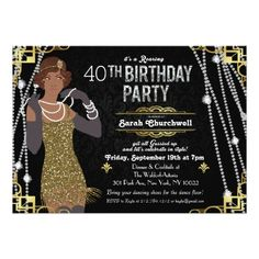 African American Flapper Girl Birthday Invitation