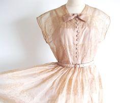 Vintage 1950s Full Skirt Dress 50s Sheer by StraylightVintage