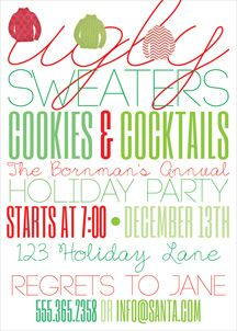 Open House Cocktail Party Ugly Sweater {5x7}-Ugly Sweater Holiday Party Invitation, ugly sweater, ugly