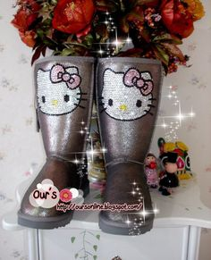 Czech  Crystal Bling Bling Wool Boots With Hello Kitty. $179.00, via Etsy.