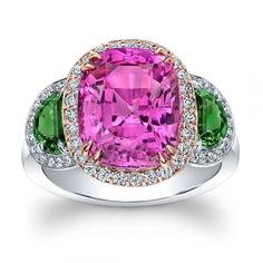 A G Gems pink spinel and tsavorite ring #SpectacularSpinel