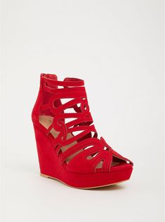 Shop wide shoes for women at Torrid! Find cute and comfortable wide with shoes in different styles including wide width sandals, heels, boots, and more! Red Wedge Shoes, Red Wedges, Summer Wedges, Wedge Sandals, Wide Width Shoes, Wide Shoes, White Knee High Socks, Cute Heels, Clearance Shoes