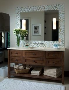 Awesome Websites Tile border around an unfinished bathroom mirror