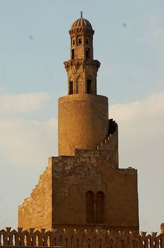 Minaret of the Mosque of Ibn Tulunmoskee 1296 gerestaureerd Caïro
