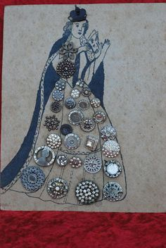 ButtonArtMuseum.com - 1940's Vintage Black Queen Button Folk Art 30 Pcs Sewn to Cardboard