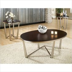 Steve Silver Company Cosmo 3 Pack Modern Cocktail and End Tables Set in Dark Cherry - CM3000 - Lowest price online on all Steve Silver Company Cosmo 3 Pack Modern Cocktail and End Tables Set in Dark Cherry - CM3000
