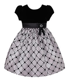 Look at this Black Velvet & Platinum Lattice Dress - Girls on #zulily today!