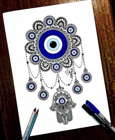 Mandala Artwork, Mandala Drawing, Greek Evil Eye Tattoo, Ojo Tattoo, Evil Eye Art, Stress Coloring Book, Black Paper Drawing, Pisces Tattoos, Elephant Wall Art