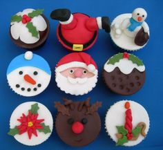 A selection of Christmas cupcakes I made last year. I must credit Pretty Witty for the upside down Father Christmas one and The Cupcake Oven for the Rudolph one Mini Christmas Cakes, Christmas Cupcake Toppers, Christmas Cake Designs, Christmas Cake Decorations, Holiday Cupcakes, Christmas Sweets, Christmas Cooking, Noel Christmas, Christmas Goodies