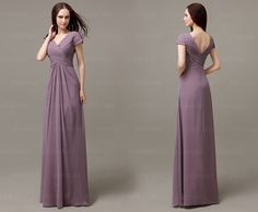 short sleeve bridesmaid dress, dusty purple dress, chiffon bridesmaid dress, cheap bridesmaid dress, long bridesmaid dress, 13018 · OkBridal · Online Store Powered by Storenvy
