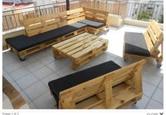 made from set made from pallets pallet patio sitting furniture set pallet. diy pallet patio sofa with red cushion 99 pallets. wooden pallet furniture set for patio 99 pallets. Palette Furniture, Pallet Furniture Designs, Pallet Patio Furniture, Outdoor Furniture Plans, Pallet Designs, Furniture Ideas, Garden Furniture, Furniture Layout, Balcony Furniture