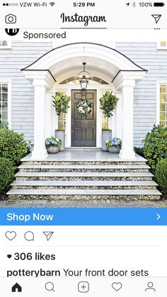 Apply these tips to refresh your front porch for summer. Fiddle Fig trees with blue and white hydrangeas frame this Nantucket style entry. Front Door Entrance, Porch Entry, Front Entrances, Front Doors, Entry Doors, Side Porch, Entrance Ideas, Grand Entrance, Front Entry
