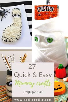 These Halloween crafts for kids feature their favorite...mummies! Easy crafts to make (many under 5 minutes!) and perfect for toddlers and preschoolers with materials you can find at your local Dollar Store! Get the family together and DIY up your Halloween decorations, this year! #Halloweencraft #kidscrafts #Mummies Easy Crafts To Make, Halloween Crafts For Kids, Halloween Decorations, Toddler Preschool, Dollar Stores, Halloween Crafts For Toddlers, Halloween Prop