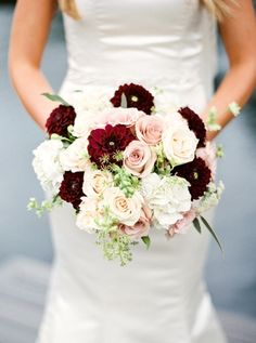 Romantic Summer Wedding at Nestleton Waters Inn is part of Blush bouquet wedding - Captured by Photographs By Caileigh, this Ontario wedding had a color palette of blush, burgundy and white, with abundant roses and dahlias Burgundy And Blush Wedding, Burgundy Bouquet, Blush Bouquet, Maroon Wedding, Burgundy Flowers, Wedding Day, Blush Roses, Summer Wedding Venues, Wedding Blush