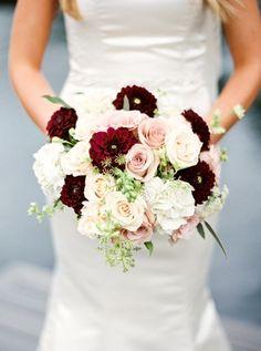 Rich burgundy and blush bouquet: http://www.stylemepretty.com/canada-weddings/ontario/2015/08/07/romantic-summer-wedding-at-nestleton-waters-inn/ | Photography: Photos by Caleigh - http://www.photosbycaileigh.com/