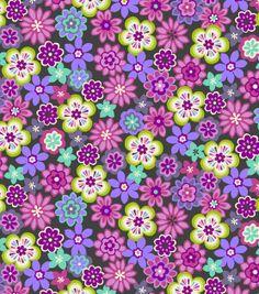Keepsake Calico Fabric-Disco Flowers Purple & Gray