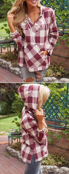 When it comes to sweatshirt, everything's coming up Fashion Plaid Print Drawstring Side-Slit Hooded Sweatshirt, discover more sweet shirts on OASAP.com.