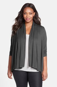 Ellen Tracy Drape Front Cardigan (Plus Size) available at #Nordstrom
