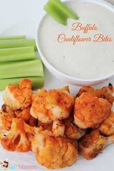 Yum!! Buffalo Cauliflower Bites - A healthy alternative to the traditional buffalo wings or buffalo chicken dip.