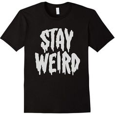 """Stay Weird"" Creepy Cute Pastel Goth Graphic T-Shirt ($24) ❤ liked on Polyvore featuring tops, t-shirts, graphic design t shirts, graphic print t shirts, gothic tees, graphic print top and goth tops"