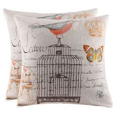 Set of two down-filled pillows with a birdcage motif.  Product: Set of 2 pillowsConstruction Material: Linen blend, dacron and down fillingFeatures: Includes insertsEye-catching designDimensions: 17  x 17 eachCleaning and Care: Spot clean. Do not use abrasive cleaners.