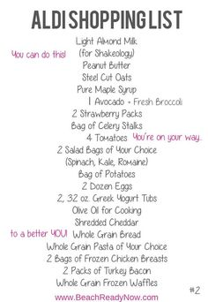 Day Fix ALDI Meal Plan and Shopping List Are you and ALDI shopper on the 21 Day Fix? Here is a meal plan and shopping list done for you!Are you and ALDI shopper on the 21 Day Fix? Here is a meal plan and shopping list done for you! 21 Day Fix Menu, 21 Day Fix Diet, 21 Day Fix Meal Plan, 21 Day Fix Snacks, Week Diet, Aldi Shopping List, Grocery Lists, Healthy Shopping, Food Lists