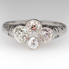 1920's Old Platinum 4 Diamond Filigree Ring