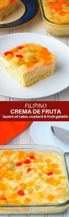 Crema de Fruta Recipe made with sponge cake, custard, and fruit gelatin is festive cake you'll love year round!