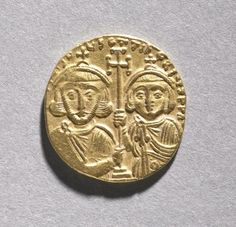 Solidus with Justinian II Rhinometus and His Son Tiberius, 705-711 Byzantium, 8th century gold, Diameter - w:1.95 cm (w:3/4 inches) Wt: 3.95 grams.