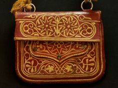 Morocco - Chkara. Traditional Berber man's antique leather bag