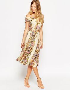 Image 1 ofASOS Bardot Wrap Midi Dress in Vintage Floral