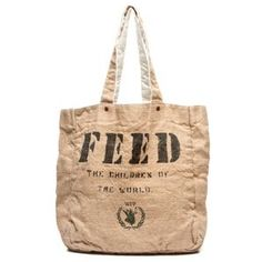 FEED 1 Bag - Feed Foundation started by Lauren Bush. Help provide food around the world. Bag designs inspired by the burlap sack feed bags.