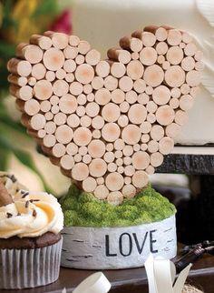Rustic heart table decor - cute for weddings & showers. #theweddingoutlet