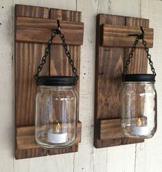 Rustic Wood Mason Jar Candle Holders Wall Sconces by LowerArkCrafts on Etsy candle holder Items similar to Mason Jar Candle or Flower Holder Reclaimed Wood Wall Sconce on Etsy Mason Jar Candle Holders, Wall Candle Holders, Mason Jar Candles, Mason Jar Diy, Mason Jar Lamp, Mason Jar Wall Sconce, Rustic Candle Holders, Beeswax Candles, Diy Candles