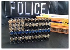This awesome Thin Blue Line Bullet Shell Flag by GomezFarmsCrafts is a great idea for a LEO to make on spare time. Let's show our love to Cops. Ammo Crafts, Police Crafts, Redneck Crafts, Hunting Crafts, Jar Crafts, Bullet Casing Crafts, Bullet Crafts, Bullet Art, Bullet Shell