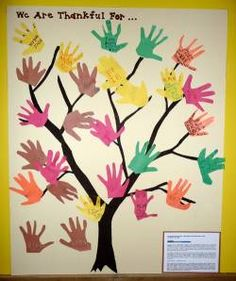 Tree of Thanks.  I know many families who do this throughout the month of November.  Family members can write things they are grateful for and glue these papers (which are in the shape of their handprint or leaves) onto a tree.  Some people do a big paper turkey and write things on the paper feathers.